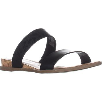 AR35 Easten Flat Two Strap Sandals, Black, 6 US