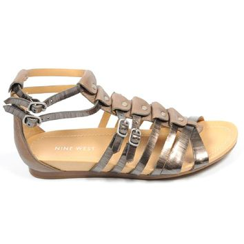 Multicolor 10 US - 41.5 EUR Nine West Womens Flat Sandal NWBUZZIE PEWTER TAUPE