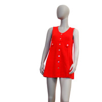 Red Vintage Dress With Golden Buttons, Short Mod Dress Or Long Sleeveless Top, Christmas Dress