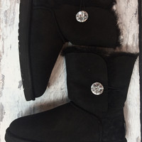 UGG BAILEY BUTTON BLING BOOTS IN BLACK
