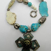 Western Necklace Western Cross Necklace Chunky Turquoise  Magnesite Jewelry