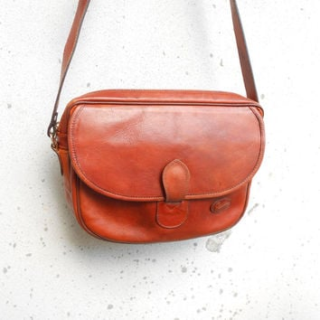 Vintage GIUDI Cognac Brown Leather Crossbody Bag , Messenger Bag / Medium / Made in Italy