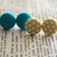 Fabric Button Earrings - Polka Dot Fabric - Teal and Yellow Earrings - Party Favors - Birthday Gift