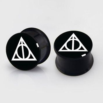 ac PEAPO2Q 2 pieces Deathly Hallows plugs anodized black ear plug gauges steel flesh tunnel body piercing jewelry 1 pair