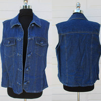 Dark Denim Vest Knot Button Vest by Austin Harris Sz L