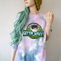 WAVVY CAT Trippy Kitten Galaxy weed 90s Long Oversized Grunge Tie Dye Jumper