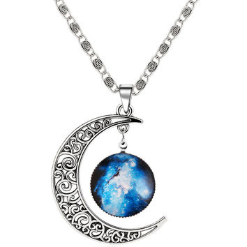 Silver Sun Moon Pendant Necklace | MakeMeChic.COM
