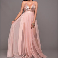 New Formal Evening Ball Gown Party Prom Sequin Backless Long Dresses
