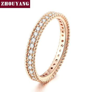 ac spbest Rose Gold Color Simple Classic Wedding & Engagement Ring Jewelry Made With Cubic Zirconia For Women ZYR490