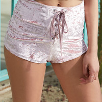 Kendall & Kylie Crushed Velvet Lace-Up Shorts at PacSun.com