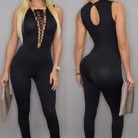 Black Sleeveless Lace-Up  Deep V Neck Jumpsuit