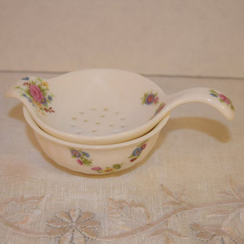 Allyn Nelson Tea Bag Strainer Vintage Shabby Chic Tea Bag Rest 2 piece Fine China Tea Bag Holder with Cup Afternoon Tea Party Gifts for Her