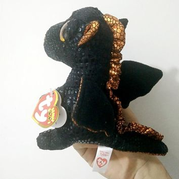 "sermoido TY Beanie Boos 6"" 15cm Merlin the Dragon Plush Regular Stuffed Animal Collection Soft Doll Toy with Heart Tags"
