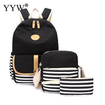School Backpack trendy 3 Pcs/Set Red Backpack Set Canvas Bags for Women 2018 Striped Crossbody Bag & Clutches Laptop  for Children AT_54_4