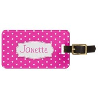 Bright pink flower polka dots named luggage tag
