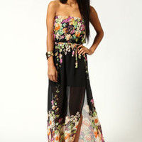 Faith Printed Bandeau Side Split Dress