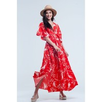 Red V-Neck Short Sleeve Long Dress