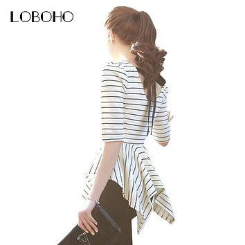 Korean Style Women Tops Fashion 2017 New Arrival Ladies White And Black Striped Backless Bow Slim Fit Summer Blouses Peplum