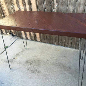 Cognac colored kitchen table:  dining table,  diagonal pattern, reclaimed wood,  mid century Modern, vintage, rustic,