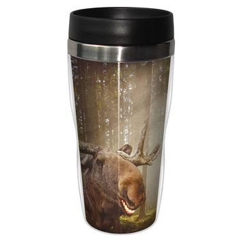 Western Moose Artful Travel Mug - Premium 16 oz Stainless Lined w/ No Spill Lid