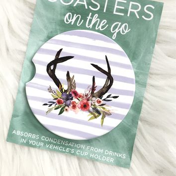 Floral Antlers Car Coasters On The Go