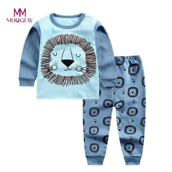 Hot Sale Children Clothing Set Long Sleeve O-neck Cotton Infant Baby Boys Girls Cartoon Print Hoodie Tops Shirt+Pants Set