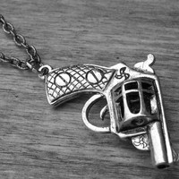 Silver Gun Necklace Gun Jewelry Pistol Necklace Revolver Necklace Western Pistol Cowgirl Hunter Pistol Jewelry Guns Rock and Roll Rocker