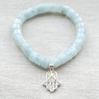 The Margalit Hamsa Bracelet - Filigree Silver Hamsa Hand on Aquamarine Bracelet