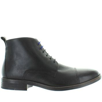 CREYONIG Hush Puppies Gage Parkview - Black Leather Cap Toe Lace-Up Boot