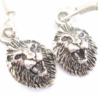 Minimalist Sterling Lion Dangle Earrings
