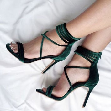 LALA IKAI 2017 Sexy High Heels Sandals Green Velvet Women Sandals Gladiator Sandals Women Summer Party Shoes 014F1074-4