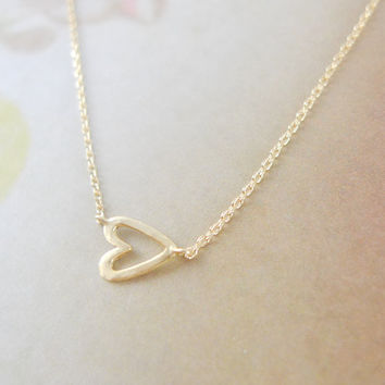 open heart necklace in gold by LemonTreeLand on Etsy