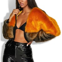 Shanghai Ombre Cropped Faux Fur Jacket