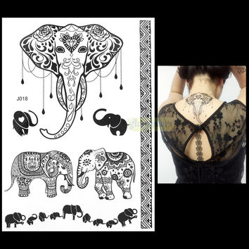 1PC Fashion Flash Waterproof Tattoo Women Black Ink Henna Jewel Sexy Lace BJ018 Elephant Wedding Henna Temporary Tattoo Sticker