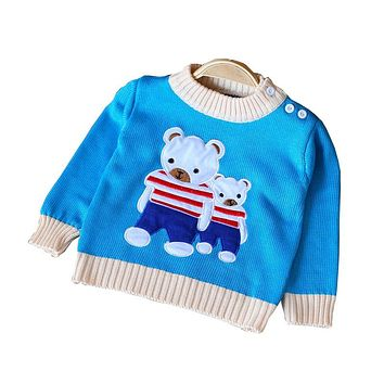 Spring Autumn Kids Cotton Cartoon Long Sleeve Sweaters For Boys Girls Baby Fall Sweater Knit Clothing