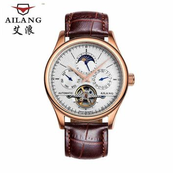 AILANG Business Designer Men Dress Watches Auto Self-wind Leather Wrist watch Multi-functional Relojes Week Calendar Moon W005