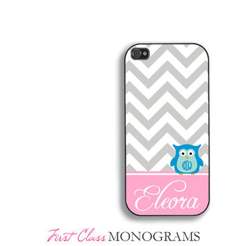 Pink & Blue Personalized Owl Monogram Phone Case, cute iPhone 5 case, iphone 4,4s,5,5s,5c, Galaxy S3, S4, S5 fcm-170