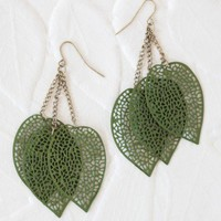 rustling leaves earrings in green at ShopRuche.com