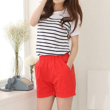 DCCKKFQ Fashion Summer Women Cotton Shorts Casual Elastic Waist Candy Solid Color Short Pants -MX8