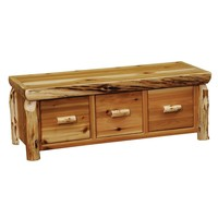 Traditional Cedar Entry Bench with Three Drawers