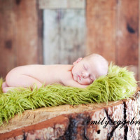 Pasture Green Artificial Fur Fabric Baby Photo Props -Faux FUR, Baby Blanket, Basket Stuffer, Fake Grass, Baby Props - 20  x 30