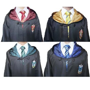 Harri Potter Robe Cape Cloak Gryffindor/SlytherinRavenclaw/Hufflepuff Cosplay Costumes Kids Adult Cape Halloween Gift 11 SIZE