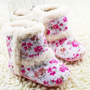 Girls Cotton Fabric Floral Print Boots Various Sizes Available