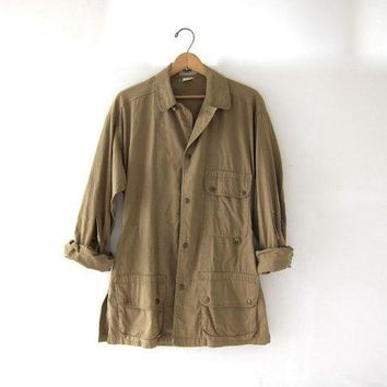 Vintage Ll Bean Khaki Shirt. Snap Up Shirt. Hunting Fishing Shirt