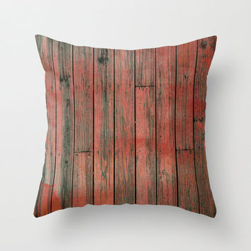 Velveteen Pillow - Red Fence - Red Throw Pillow - Rustic Decor - Boho Decor - Nature Decor - Farmhouse Chic - Woodlands Decor - Cottage Chic