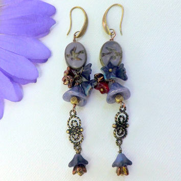 Long Purple Dangles, Czech Glass Earrings, Hearts and Swallows Earrings, Flower Earrings, Handmade