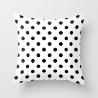 White & Black Polka Dot Home Decor Print Throw Pillow by Cabinet Of Pretty Things
