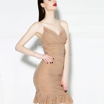 Coffee Colored Ruched Spaghetti Strap Sweetheart Neckline Midi Dress with Ruffle Hem