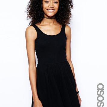 ASOS TALL Exclusive Ribbed Smock Playsuit - Black