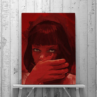 Pulp Fiction, Mia Wallace, Pulp Fiction Poster, Mia Wallace Painting,  Pulp fiction Art, Quentin Tarantino, Movie Poster, Wall Art Print